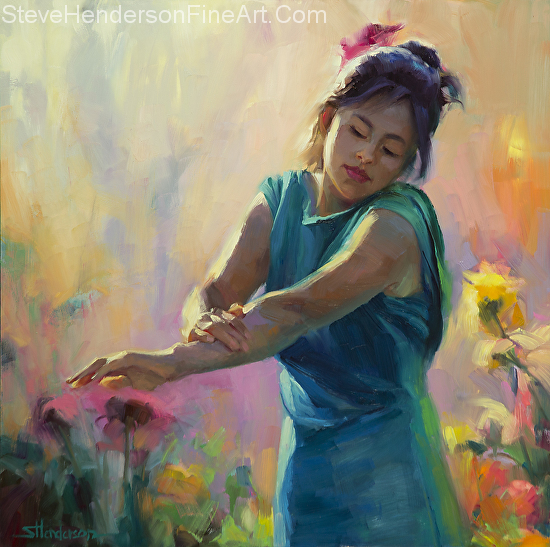 Enchanted inspirational original oil painting of woman in green dress in garden with sunlight by Steve Henderson