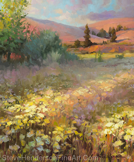Field of Dreams inspirational oil painting of meadow hills and trees in rural country setting by Steve Henderson