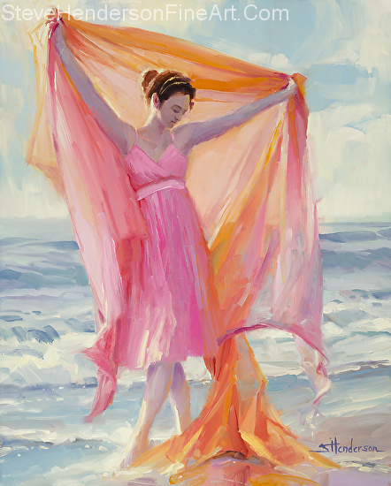 Grace inspirational original oil painting of woman in pink dress dancing on beach at ocean by Steve Henderson