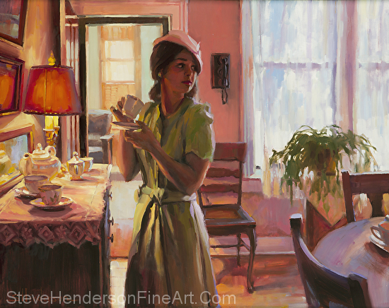 Midday Tea inspirational oil painting of young woman in dining room of Victorian home by Steve Henderson