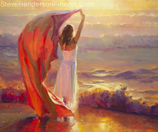 Ocean Breeze inspirational oil painting of woman onocean beach at sunset with dress and fabric by Steve Henderson