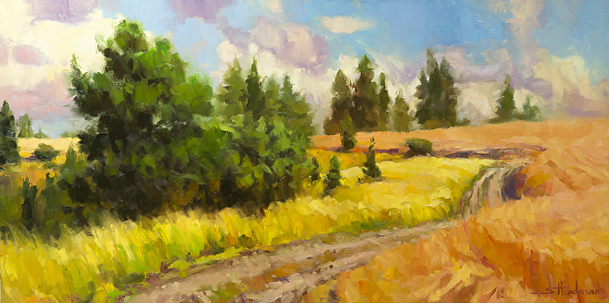 Off the Grid inspirational original oil painting landscape of meadow and highland road by Steve Henderson