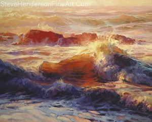 Opalescent Sea inspirational original oil painting of ocean waves by Steve Henderson