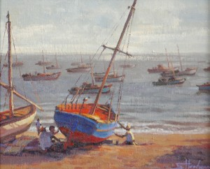 Peruvian Fishermen inspirational oil painting of boats on beach by ocean sea by Steve Henderson