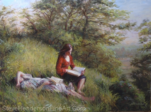 Provincial Afternoon inspirational oil painting of two girls in meadow reading books by Steve Henderson