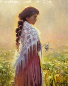 Queen Anne's Lace inspirational oil painting of young woman in meadow with flowers wearing lace shawl by Steve Henderson