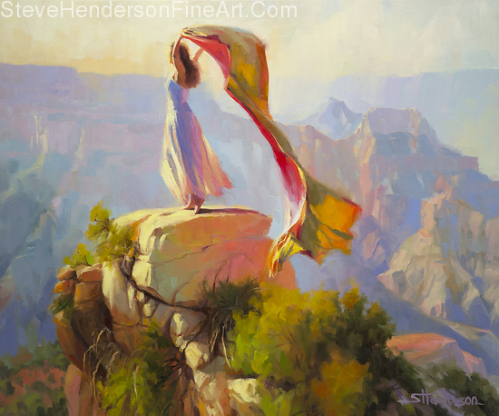 Spirit of the Canyon inspirational original oil painting of woman at grand canyon with fabric by Steve Henderson