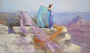 Diaphanous inspirational original oil painting of woman in lilac dress and fabric at Grand Canyon National Park by Steve Henderson