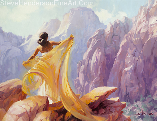 Dream Catcher woman with scarf in canyon by Steve Henderson licensed prints at art.com, amazon.com, great big canvas, and framed canvas art