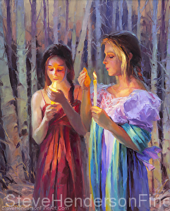 Light in the Forest inspirational original oil painting of two women with candles in Celtic woods by Steve Henderson licensed prints at iCanvasART, Framed Canvas Art and amazon.com