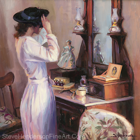 The New Hat inspirational original oil painting of woman in 1940s nostalgia setting by victorian dresser by Steve Henderson