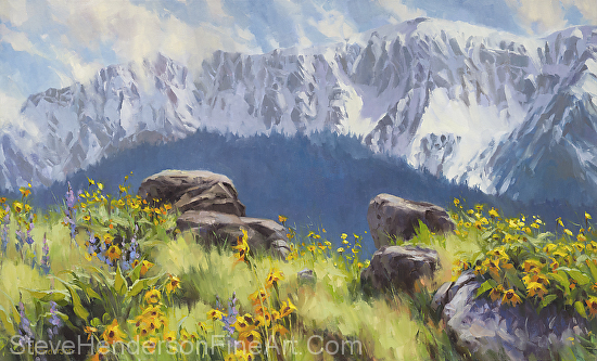 The Land of Chief Joseph inspirational original oil painting of wallowa mountains and meadow with flowers by Steve Henderson, licensed prints at Framed Canvas Art and amazon.com.