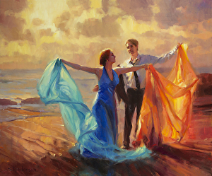 Evening Waltz inspirational original oil painting of couple dancing on beach by Steve Henderson licensed prints at Framed Canvas Art and Vision Art Galleries