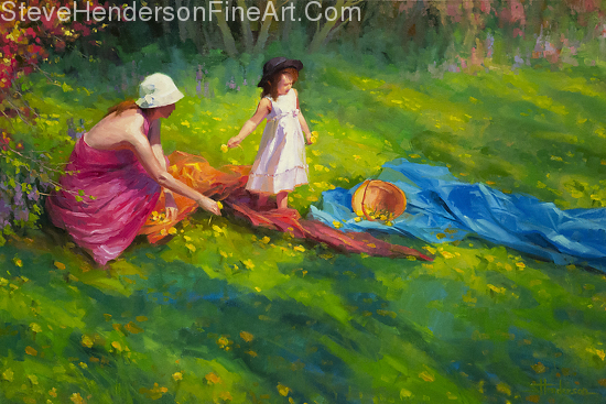 Dandelions inspirational original oil painting of little girl and women in meadow with flowers by Steve Henderson licensed prints at Art.com, Amazon.com, Great Big Canvas, iCanvasART, and Framed Canvas Art