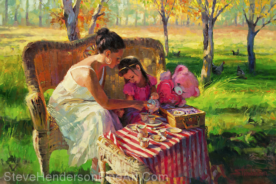 Afternoon Tea inspirational original oil painting of young woman and child in meadow by Steve Henderson; licensed prints at art.com, amazon.com, Framed Canvas Art, Great Big Canvas, and iCanvasART