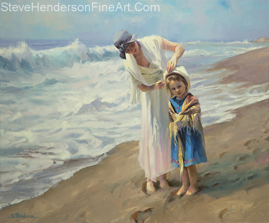 Beachside Diversions inspirational original oil painting of mother and child on ocean sand by Steve Henderson, licensed prints at Great Big Canvas, AllPosters.com, Art.com, Amazon.com, and Framed Canvas Art