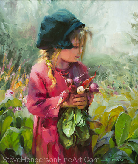 Child of Eden inspirational original oil painting of little girl with green hat holding radishes in garden by Steve Henderson; licensed prints at amazon.com, icanvasart, framed canvas art and vision art galleries