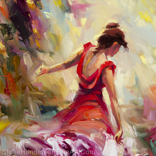 Dancer inspirational original oil painting of woman in red on abstract background by Steve Henderson, licensed prints at iCanvasART, Amazon.com, Art.com, and Framed Canvas Art