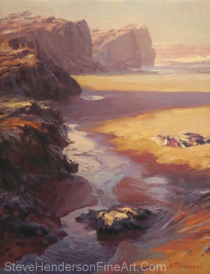Expose inspirational original oil painting of ocean beach by Steve Henderson