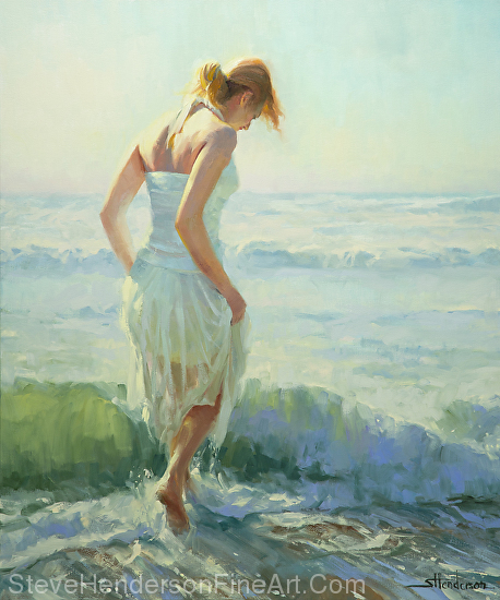 Gathering Thoughts inspirational original oil painting of woman wading through ocean surf by Steve Henderson, licensed prints at art.com, amazon.com, great big canvas, icanvasart, and framed canvas art