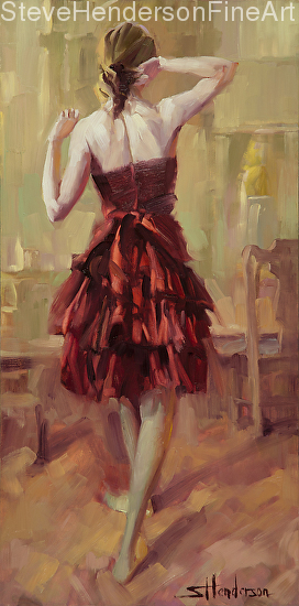 Girl in a Copper Dress 3 inspirational original oil painting of woman stretching by Steve Henderson, licensed prints at art.com, great big canvas, and framed canvas art