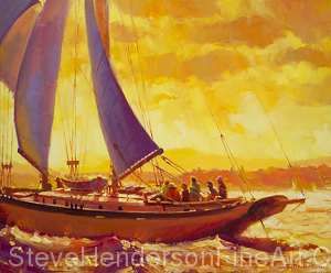 Golden Opportunity inspirational original oil painting of sailboat on Puget Sound at sunset by Steve Henderson licensed prints at Great Big Canvas, amazon.com, art.com, Framed Canvas Art and iCanvasART