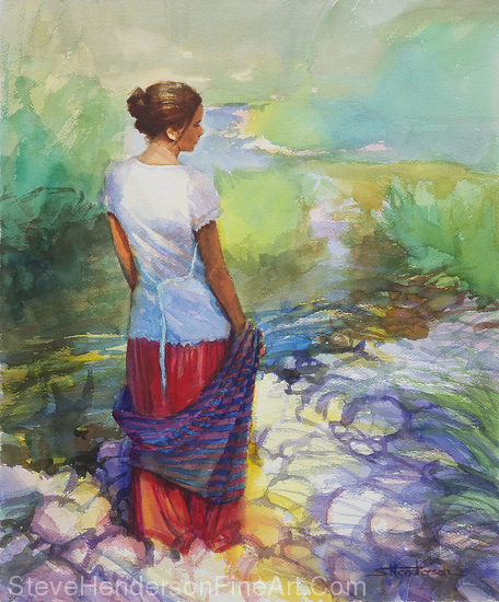 Riverside Muse inspirational original watercolor of woman by banks of stream by Steve Henderson, licensed prints at amazon.com, art.com, allposters.com, Framed Canvas Art, and iCanvasART