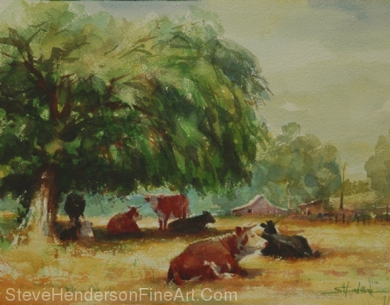 Rumination inspirational original watercolor of cows chewing cud in meadow by Steve Henderson