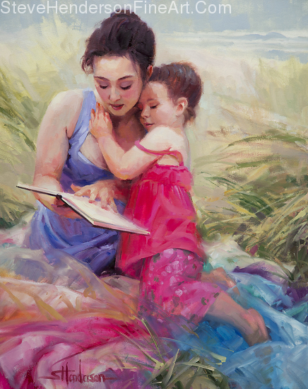 Seaside Story inspirational original oil painting of girl and woman on beach reading book by Steve Henderson, licensed prints at art.com, amazon.com, Framed canvas art, Great Big Canvas, and iCanvasART