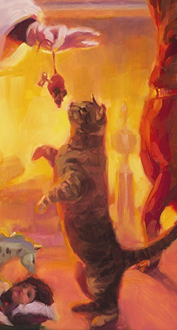 Something for Everyone detail of inspirational original oil painting of cat and dog with Santa Claus at Christmas by Steve Henderson
