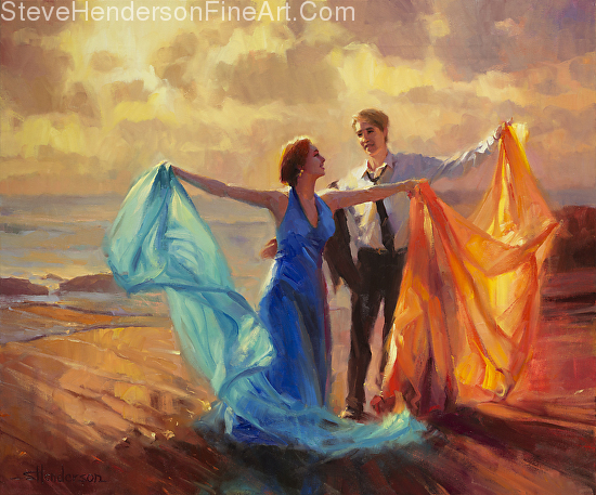 Evening Waltz inspirational original oil painting of couple dancing on ocean beach at sunset by Steve Henderson; licensed prints at Framed Canvas Art and Amazon.com