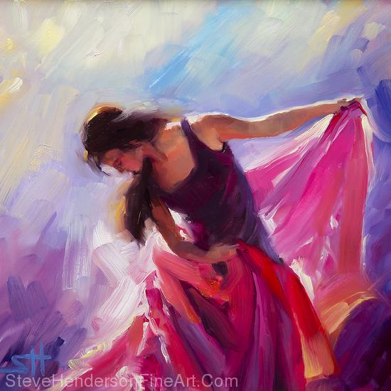 Magenta inspirational original oil painting of flamenco woman dancing by Steve Henderson