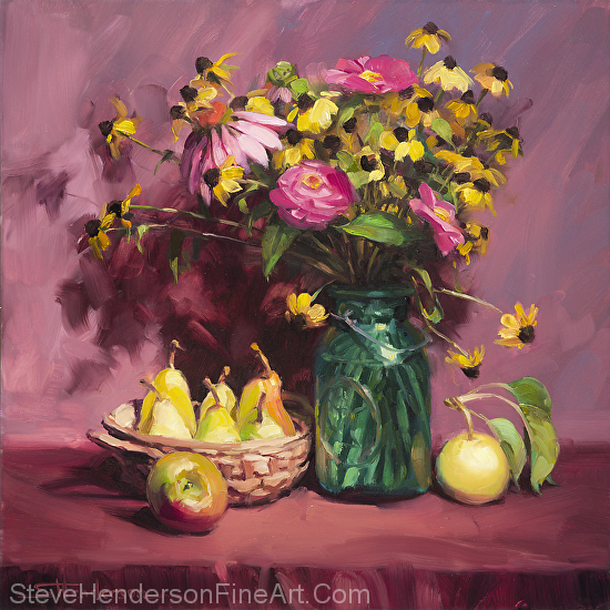 September inspirational original oil painting of still life floral and flowers with apple and pear fruit, by Steve Henderson
