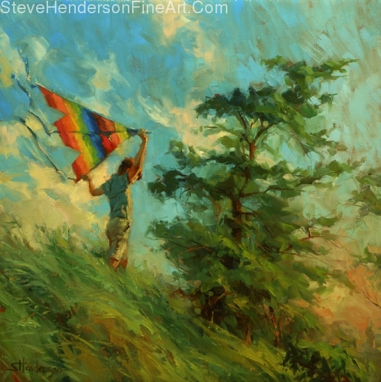 Summer Breeze inspirational original oil painting of boy flying kite on windy day in meadow by Steve Henderson