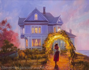 Lady in Waiting inspirational original oil painting of woman at Victorian lilac home by the sea by Steve Henderson, licensed prints at amazon, framed canvas art and icanvas