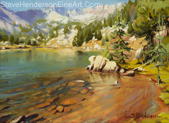 Crystalline Waters inspirational original oil painting of mountain alpine lake in the Wallowas of Oregon by Steve Henderson