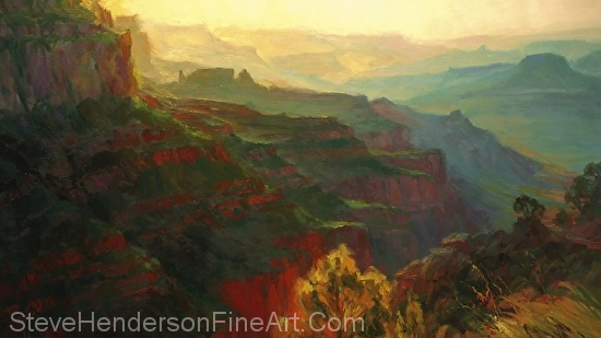 Canyon Silhouettes inspirational original oil painting by Steve Henderson, licensed prints at vision art galleries