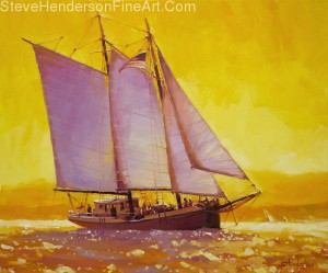 Golden Sea inspirational original oil painting of saiboat at yellow sunset on puget sound by Steve Henderson, licensed prints at Great Big Canvas, amazon.com, art.com, allposters.com, icanvas, and framed canvas art