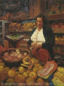 The Fruit Vendor inspirational original oil painting of south american market woman with bananas and melons by Steve Henderson