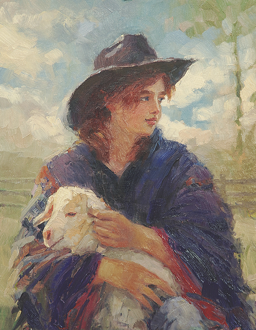 The Blue Poncho inspirational original oil painting of girl and baby goat by Steve Henderson