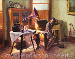 Ending the Day on a Good Note inspirational original oil painting of 1940s nostalgic woman in victorian home listening to victrola by Steve Henderson