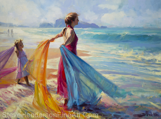 Into the Surf inspirational original oil painting of child and woman at ocean beach by Steve Henderson; licensed prints at amazon.com, art.com, allposters.com, great big canvas, icanvas, and framed canvas art