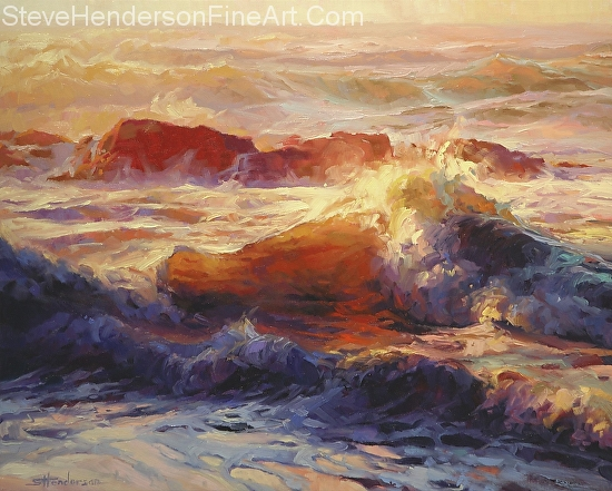 Opalescent Sea inspirational original oil painting of ocean waves by Steve Henderson, licensed prints at art.com, allposters.com, amazon.com, framed canvas art, iCanvas, and Great Big Canvas