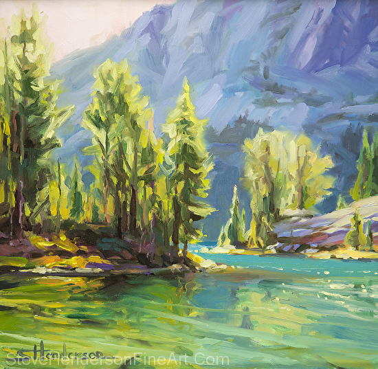 Shades of Turquoise inspirational original oil painting of alpine lake in mountains by Steve Henderson