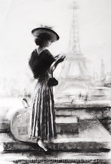 The Traveler inspirational original charcoal drawing of young woman in Paris France near the Eiffel Tower by Steve Henderson