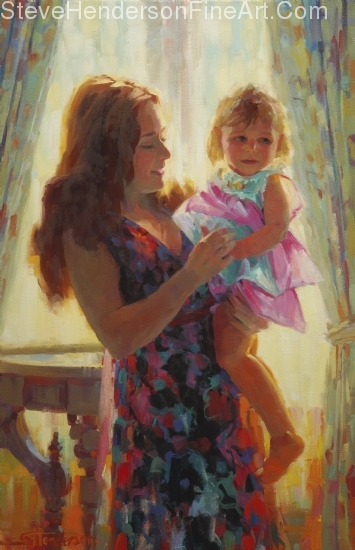 Madonna and Toddler inspirational original oil painting of child and mother in Victorian setting by Steve Henderson licensed prints at Framed Canvas Art, iCanvas, and Amazon.com