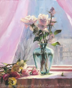 Morning's Glory inspirational original oil painting still life of rose flowers in sunny window by Steve Henderson