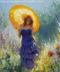 Promenade inspirational original oil painting of woman with parasol in flower garden by Steve Henderson licensed prints at Great Big Canvas, amazon.com, art.com, allposters.com, Framed Canvas Art, and iCanvas