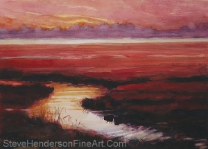 High Tide on Siletz Bay inspirational original watercolor of river running through coastal meadow by Steve Henderson