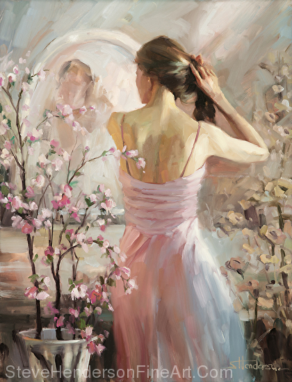 The Evening Ahead inspirational original oil painting of young woman preparing for dinner out in front of mirror by Steve Henderson